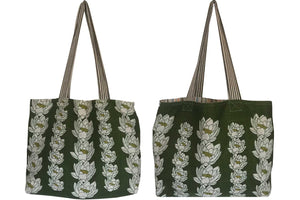 Lillies on olive green florals linen teatowel tote bag