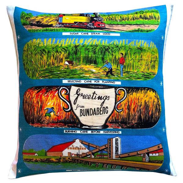Greetings from Bundaberg souvenir teatowel cushion cover