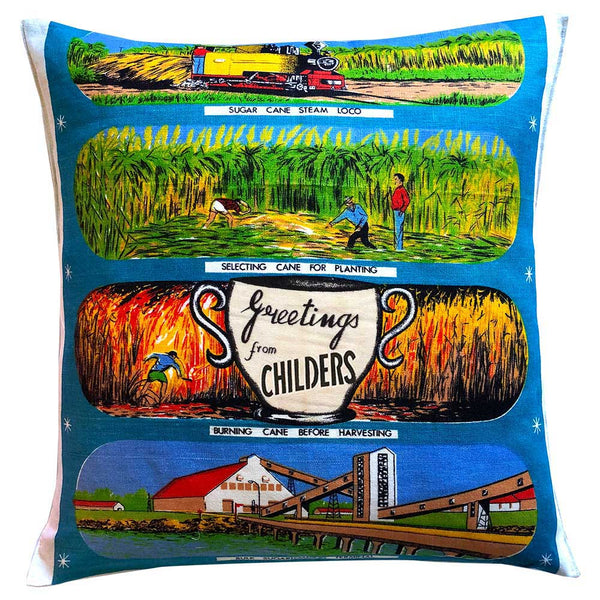 Greetings from Cane country vintage linen teatowel cushion cover