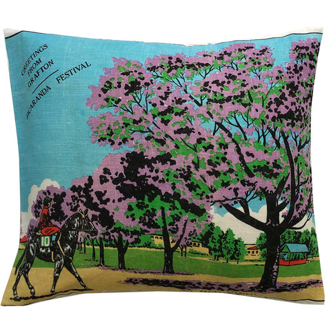 Greetings from Grafton Jacaranda Festival vintage linen teatowel pillow cover