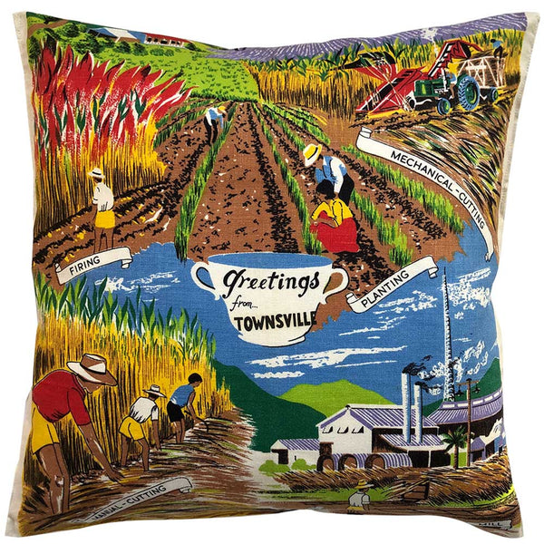 Greetings from Townsville souvenir teatowel cushion cover