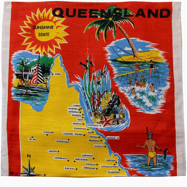 Love And West Greetings from Queensland vintage teatowel cushion cover