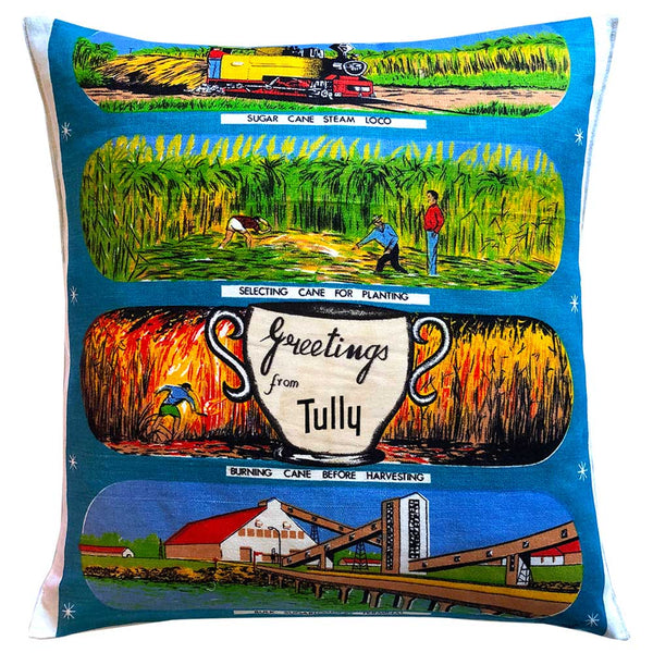 Greetings from Tully souvenir teatowel cushion cover