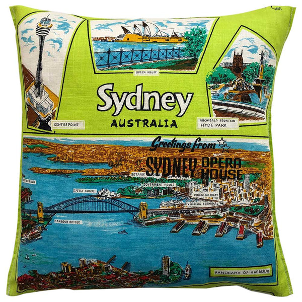 Greetings from the Sydney Opera House vintage linen teatowel