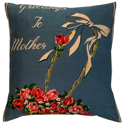 Greetings to Mother vintage linen cushion