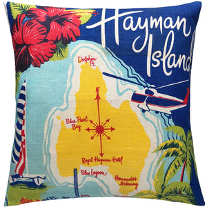 Hayman Island Eve Roy illustrated vintage linen teatowel cushion cover