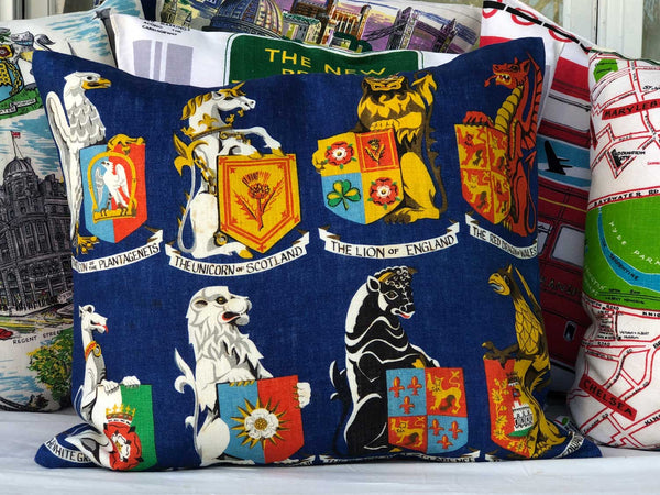 Heraldry of the British Isles vintage linen teatowel cushion cover