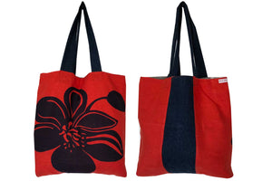 Bold red and navy graphic teatowel tote