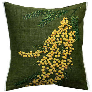 Hill End wattle on a linen teatowel cushion