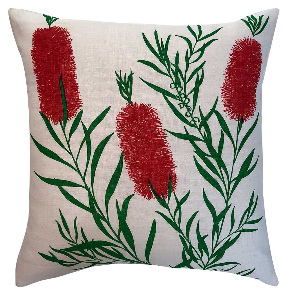 Lovely crimson bottle brush 'Judy McCallum' vintage linen teatowel cushion