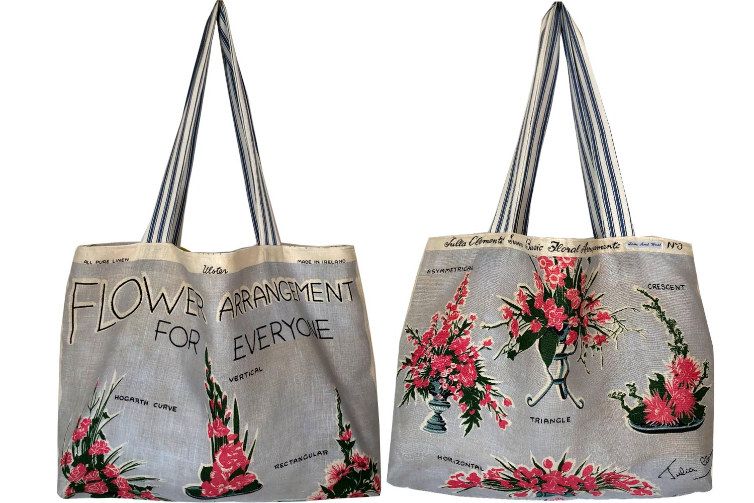 Flower arranging for everyone vintage linen teatowel tote