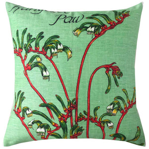 Kangaroo paw greetings from Manjimup vintage linen teatowel cushion cover