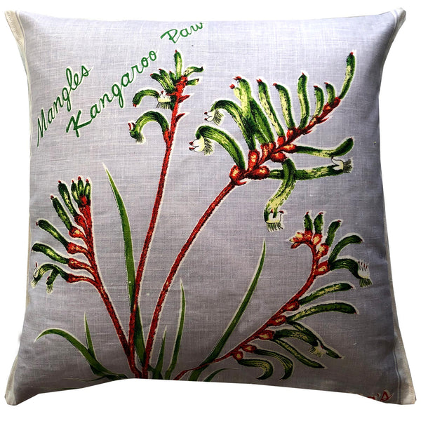 Mangles kangaroo paw repurposed linen cushion cover