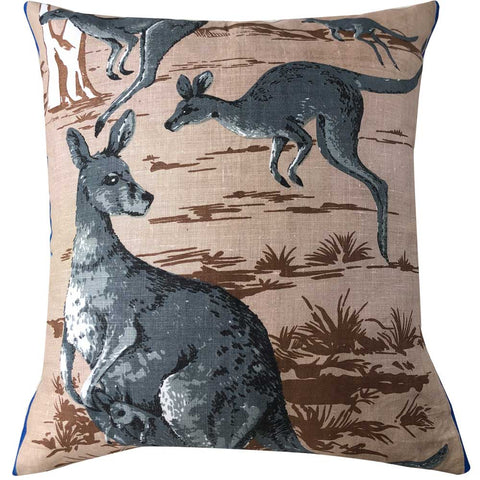 Kangaroos on vintage linen teatowel cushion cover