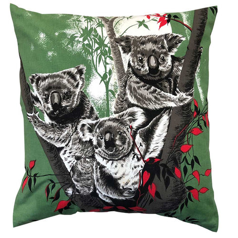 Copy of Koala family on green cotton