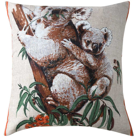 Koala mother and baby on natural linen teatowel cushion cover