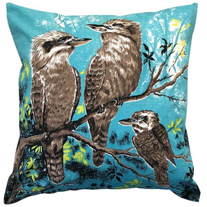 Kookaburra party family on blue cotton