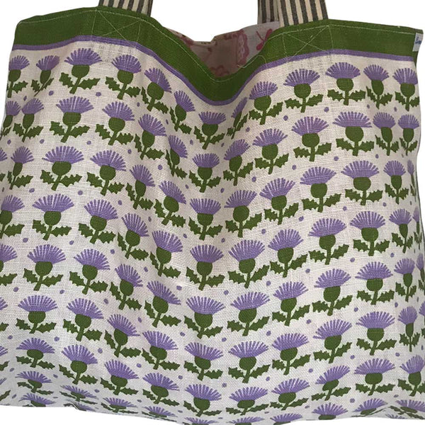 Lilac thistles linen teatowel tote bag