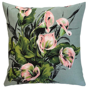 Lillies on olive green florals linen teatowel cushion cover