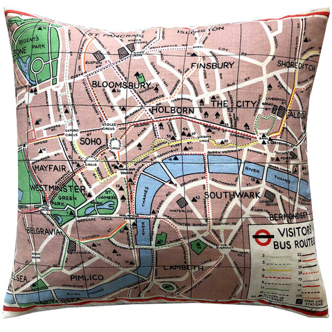 London bus routes vintage linen teatowel cushion cover