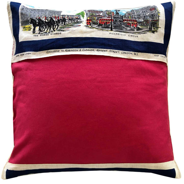 Sights of London vintage linen teatowel cushion cover
