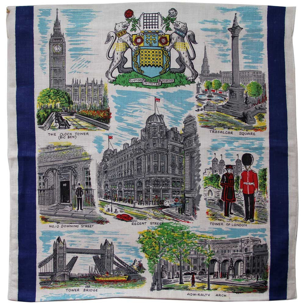Love And West London vintage linen teatowel cushion cover