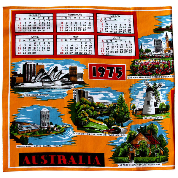 1975 orange calendar teatowel cushion cover