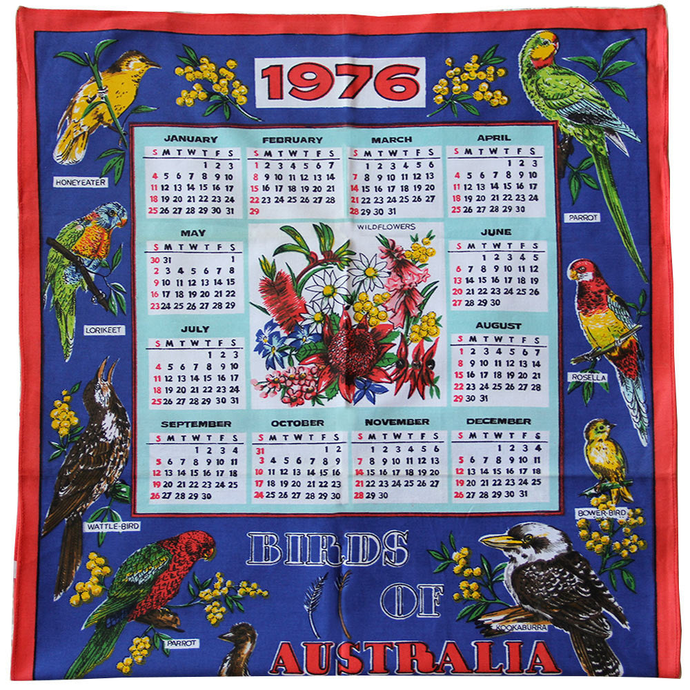 1976 Birds of Australia calendar teatowel cushion cover