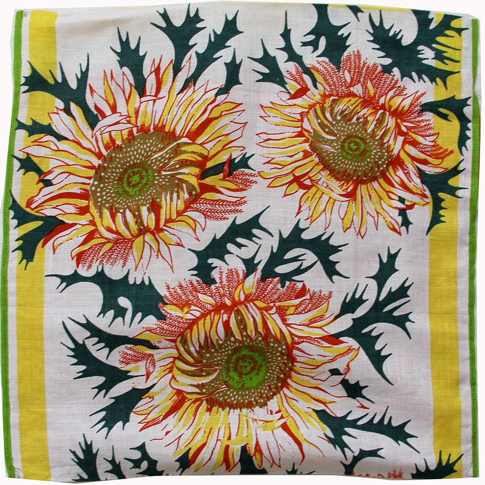 Sunflowers on thick crisp linen teatowel. Cushion cover