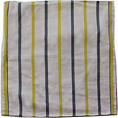 Grey and yellow stripe vintage linen teatowel cushion cover