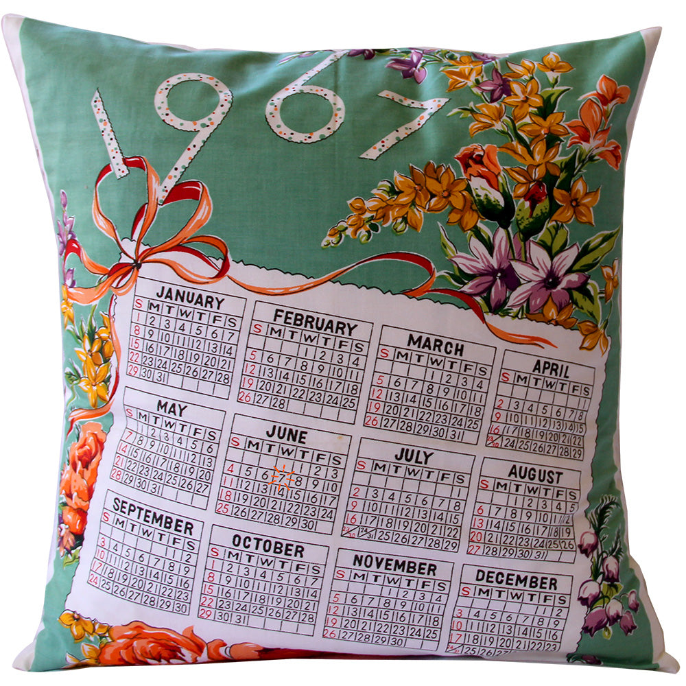 Floral 1967 Calendar teatowel cushion cover