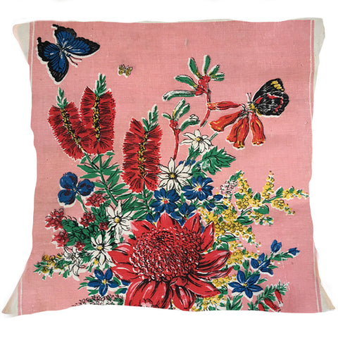 Pink floral teatowel cushion cover