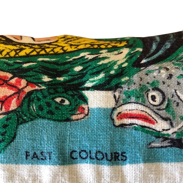 Fish and turtle detail on vintage linen Gold Coast teatowel