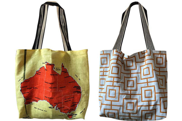 Australia and Geometric teatowel tote