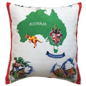 Melbourne vintage linen teatowel cushion cover