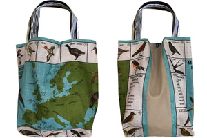 Migrating birds of the UK linen teatowel tote bag