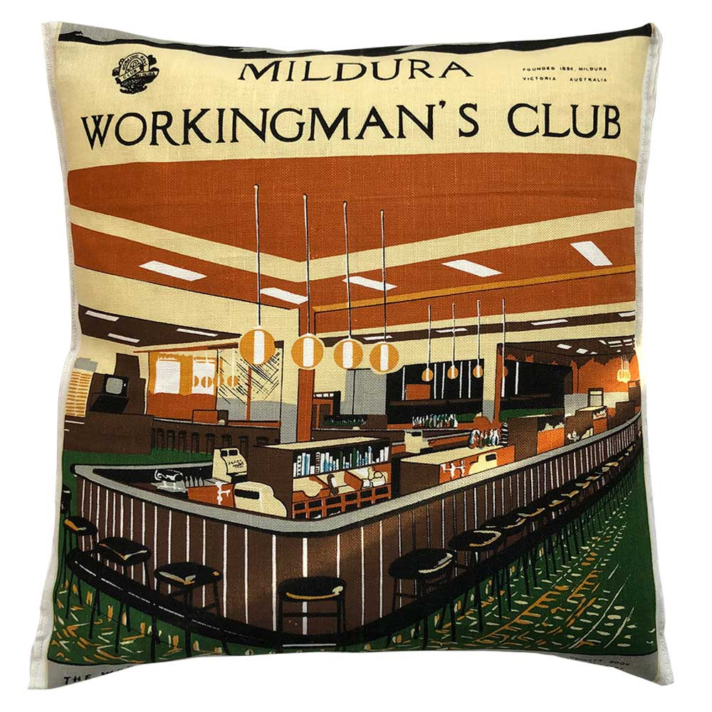 Mildura working men's club vintage linen teatowel cushion cover