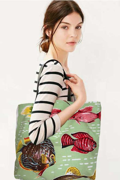 Tropical fish teatowel tote bag