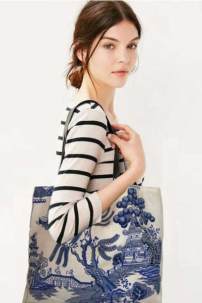 Willow pattern teatowel tote
