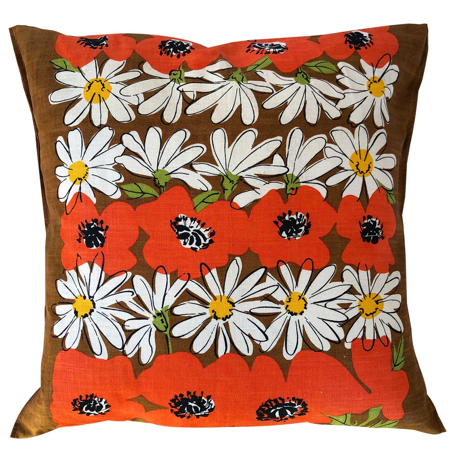 Daisies and poppies retro cushion cover in 70s colours