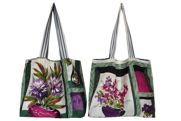 Abstract artist floral teatowel tote