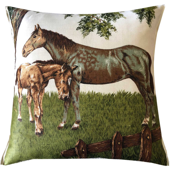 Mare and foal in earthy tones