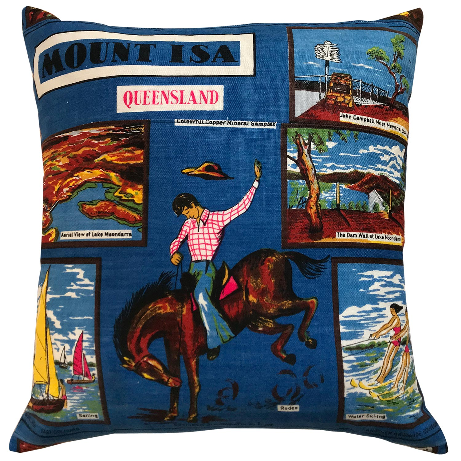Mt Isa souvenir teatowel cushion cover