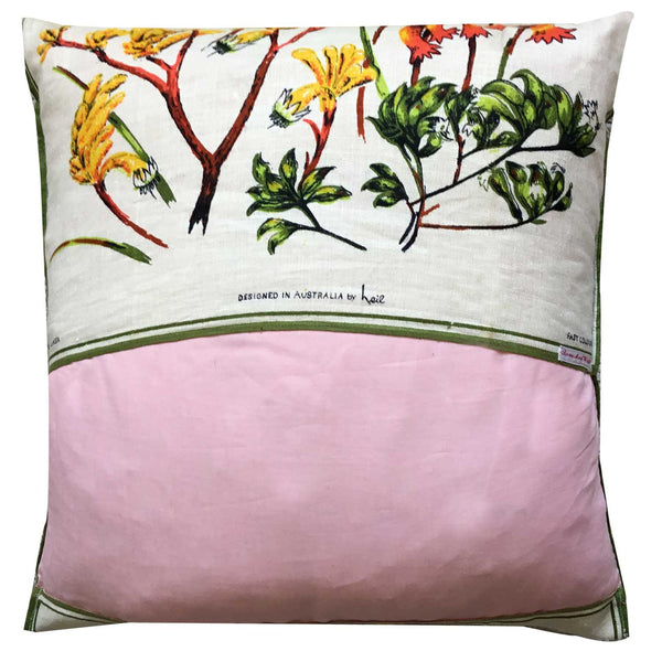 Kangaroo Paws on creamy linen retro cushion cover