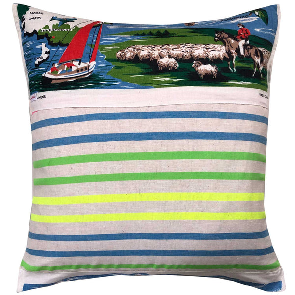 New Zealand vintage souvenir linen teatowel cushion cover