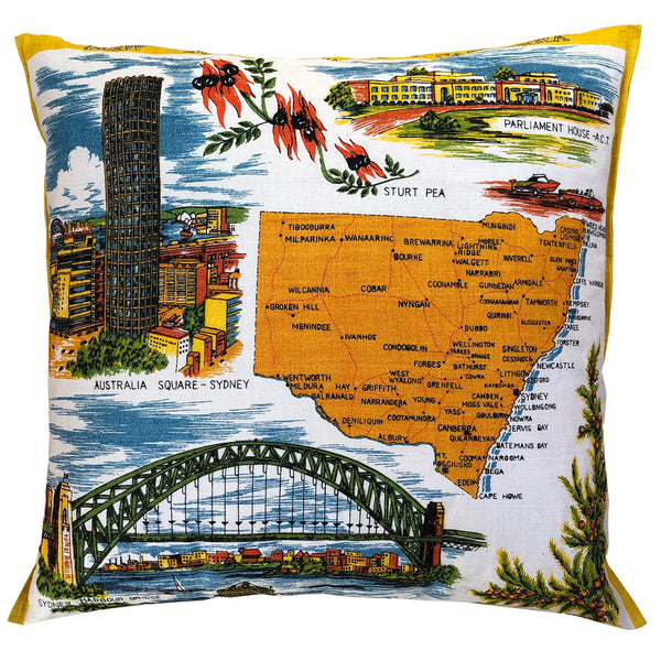 New South Wales and ACT souvenir teatowel cushion cover