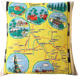 Northern district New South Wales vintage teatowel cushion cover