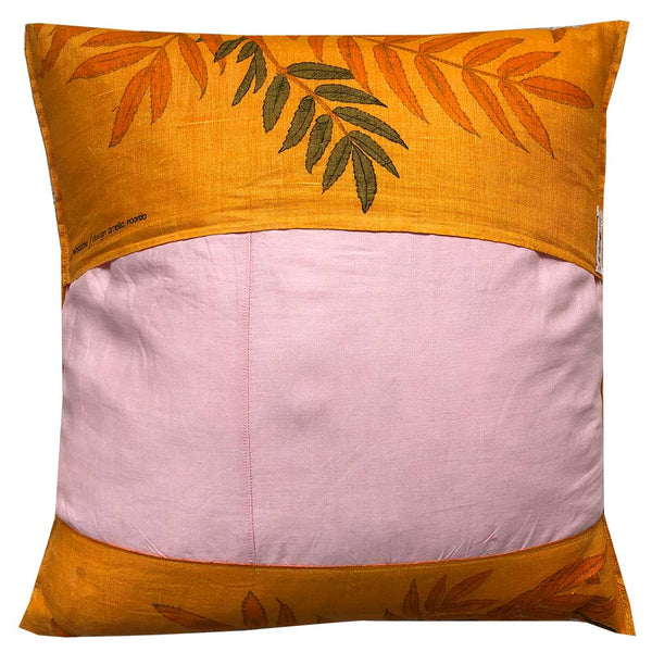 Ferns and berries on lush orange linen cushion cover