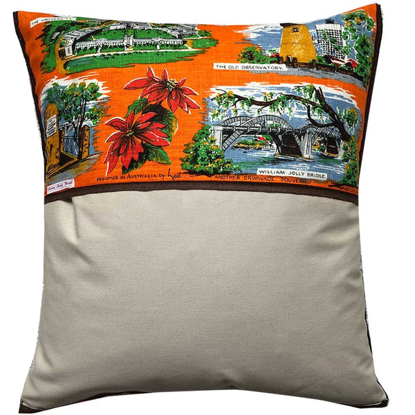 Brisbane vintage linen teatowel cushion cover