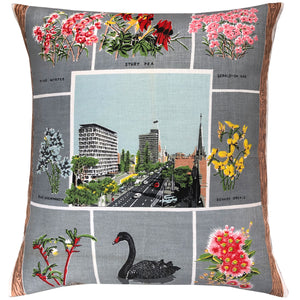 West Australian wildflowers vintage linen teatowel cushion cover